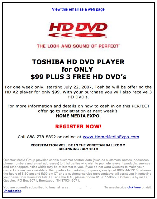 Toshiba HD DVD Player for $99